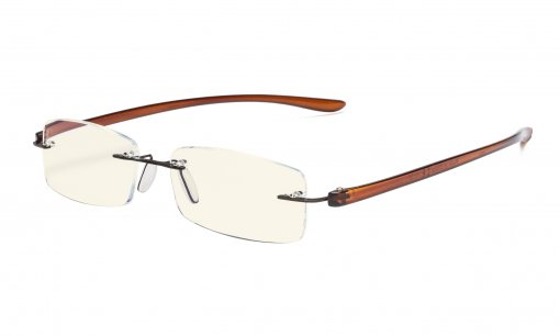Computer Reading Glasses Blue Light Filter Rimless Readers UV Protection Brown Arm UVCG1