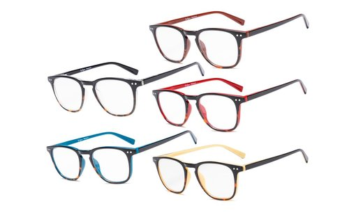 Reading Glasses 5 Pack Mixed Color Vintage Readers Men Women R179-5pc-Mix