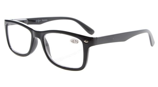 Reading Glasses Spring-Hinges Temples Classic Vintage Frame Readers Black R075