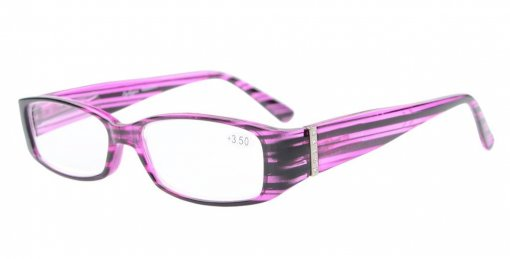 Reading Glasses Spring Hinge Readers with Genuine Austrian Crystals Women Purple R081