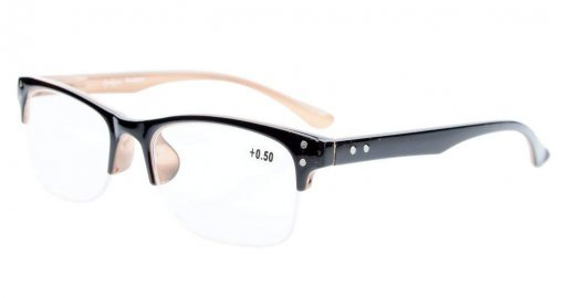 Reading Glasses Stylish Half-rim Design with Quality Spring Hinges Readers Black-Brown R088