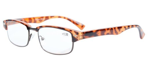 Reading Glasses Half-rim with Quality Spring Hinges Temples Tortoise R087