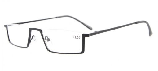 Reading Glasses Quality Spring Hinges with Metal Half-Rim Design Readers Women Men Black R1613