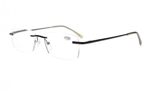 Reading Glasses Stylish Rimless with Quality Spring Hinges Temples Readers Women Men Gunmetal R1612