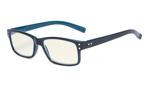 Computer Glasses UV Protection Anti Glare/Blue Rays Readers Black/Blue Arm CG032