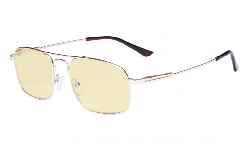 Blue light Glasses Men Women-Computer Eyeglasses-Memory Titamiun Frame Spring Hinges Double Bridge Gold TMCG1705