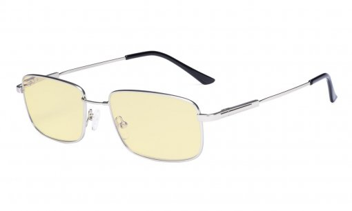 Blue light Glasses Men-Computer Reading Glasses-Memory Titamiun Spring Hinge Readers Silver TMCG1701
