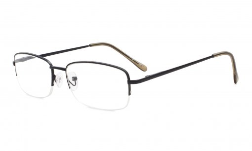 Classic Metal Frame Reading Glasses Half Rim Spring Temples Readers Black R15015