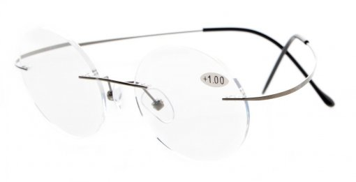 Titanium Rimless Round Reading Glasses Gunmetal R15026