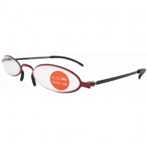 Non Prescription Stainless Steel Double Color Frame Slim Reading Glasses Red-Black R12002