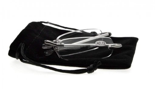 Compact Folding Rimless Reading Glasses With Soft Pouch Gunmetal R15081