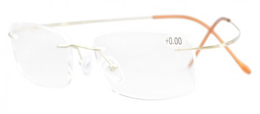 Titanium Rimless Reading Glasses Readers Gold R1508