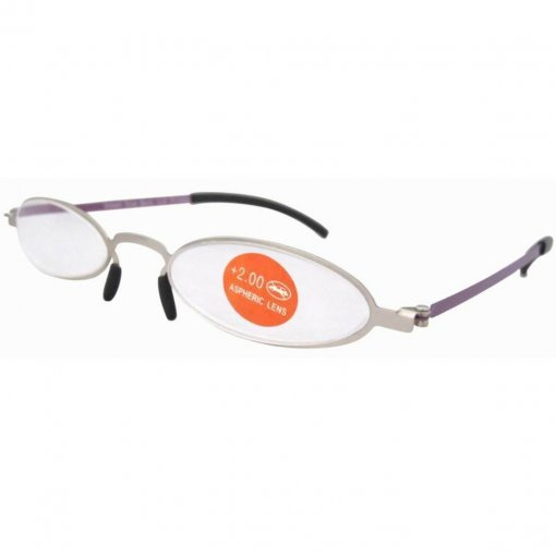 Non Prescription Stainless Steel Double Color Frame Slim Reading Glasses Silver-Purple R12002