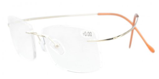 Titanium Rimless Reading Glasses Readers Gold R1509