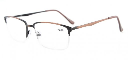 Spring Hings Half-rim Brushed Metal Eyeglasses Anti-Copper R15047