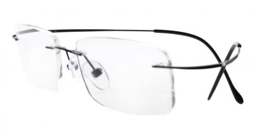 Titanium Rimless Reading Glasses Readers Black R1508