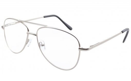 Pilot Style Metal Frame Spring Hinges Reading Glasses Silver R1502
