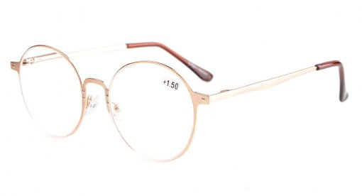 Reading Glasses Quality Spring Hings Retro Round Readers Gold R15044