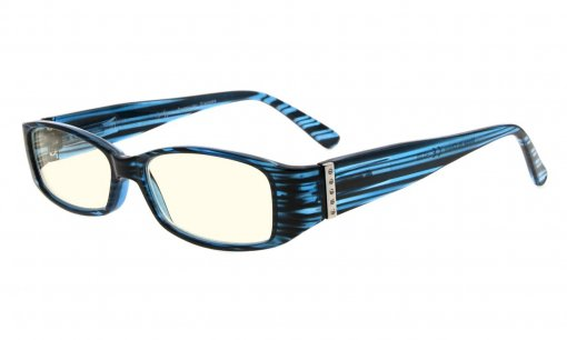 Computer Glasses UV Protection Eyeglasses with Genuine Austrian Crystals Women Blue CG081