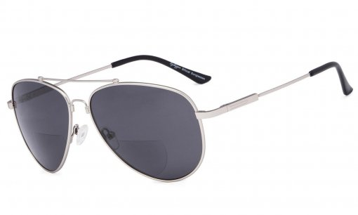 Bifocal Sunglasses Reading Sunglass With Memory Bridge and Arm Silver-Grey-Lens SG1804