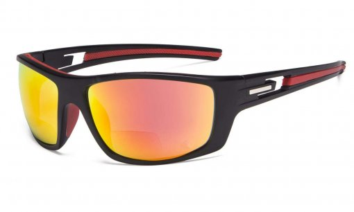 Bifocal Reading Sunglasses for Sports TR90 Red Mirror S066-Bifocal