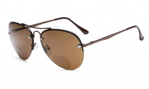 Half-rim Pilot Style Bifocal Reading Sunglasses Brown S16016-Bifocal