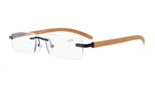 Spring Hinges Small Lens Rimless Reading Glasses Wood Temple Arms Black R1633