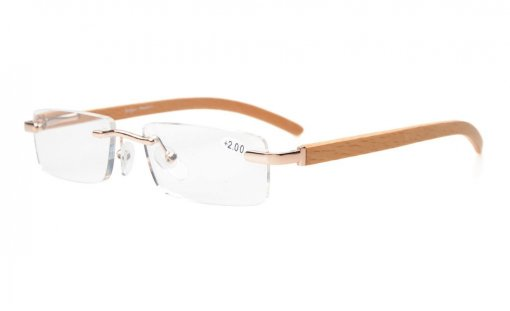 Spring Hinges Small Lens Rimless Reading Glasses Wood Temple Arms Gold R1633