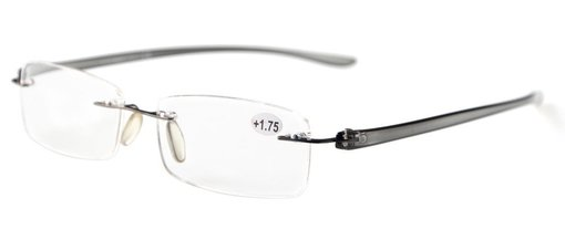 Reading Glasses Small Lenses Rimless Readers Grey Arm R14001
