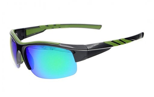 Sunglasses Polarized Half Rimless Polycarbonate TR90 Unbreakable Sport Black/Green Mirror TH6226
