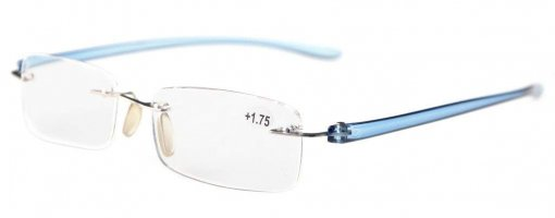 Reading Glasses Small Lenses Rimless Readers Blue Arm R14001