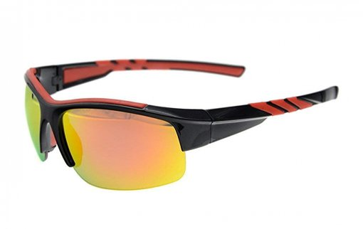 Sunglasses Polarized Half Rimless Polycarbonate TR90 Unbreakable Sport Black/Red Mirror TH6226