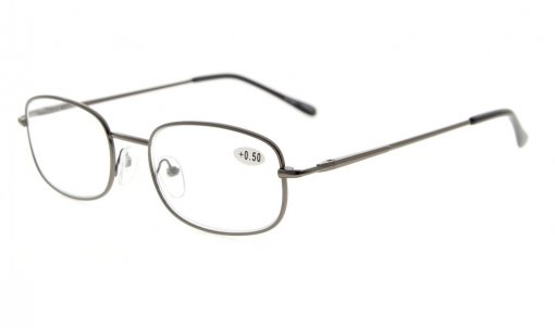 Metal Frame Spring Hinged Arms Reading Glasses Gunmetal R3232