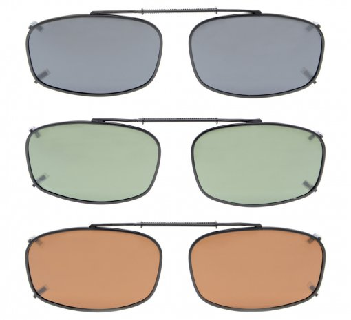 3-pack Clip-on Polarized Sunglasses 2 x1 1/4 inch (52×32 MM) C62-3pcs-Mix