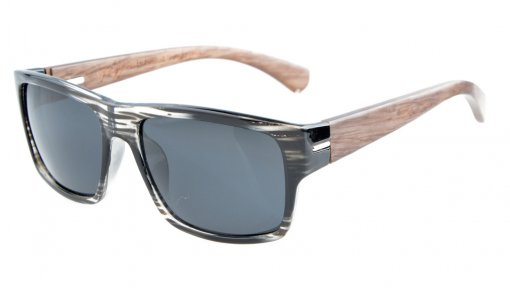 Sunglasses Polarized Quality Spring Hings Wood Temples Stripe/Grey Lens S014-Polarized