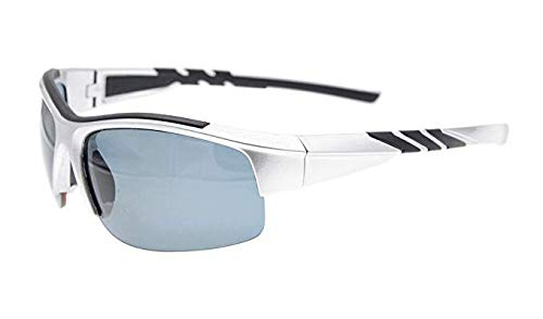Sunglasses Polarized Half Rimless Polycarbonate TR90 Unbreakable Sport Silver/Grey Lens TH6226