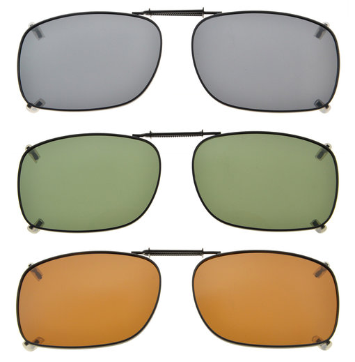 3-pack Clip-on Polarized Sunglasses 2×1 7/16 inch (51x36MM) C75-3pcs-Mix