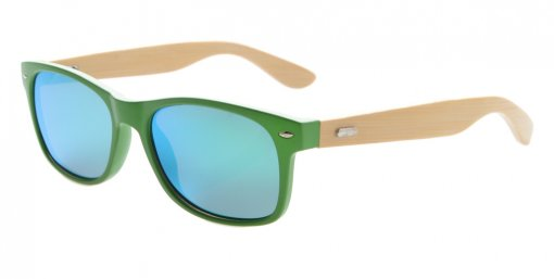 Sunglasses Polarized Classic Bamboo Wood Arms Men Green Frame-Green Mirror S1510