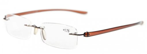 Reading Glasses Small Lenses Rimless Readers Brown Arm R14001