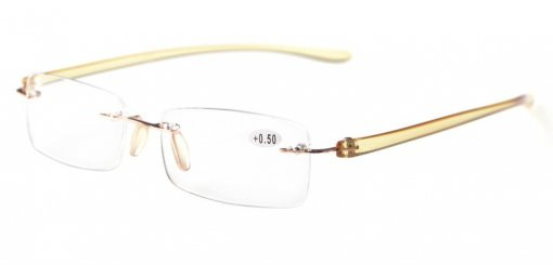 Reading Glasses Small Lenses Rimless Readers Yellow Arm R14001