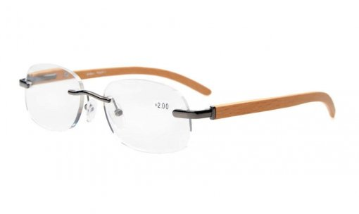 Spring Hinges Wood Temple Rimless Reading Glasses Men Women Gunmetal R1632