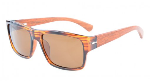 Sunglasses Polarized Quality Spring Hings Wood Temples Stripe/Brown Lens S014-Polarized