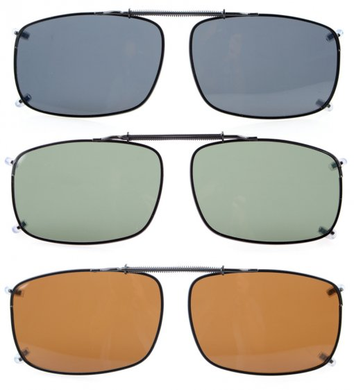 3-pack Clip-on Polarized Sunglasses 2 1/4 x1 1/2 inch (58×38MM) C60-3pcs-Mix