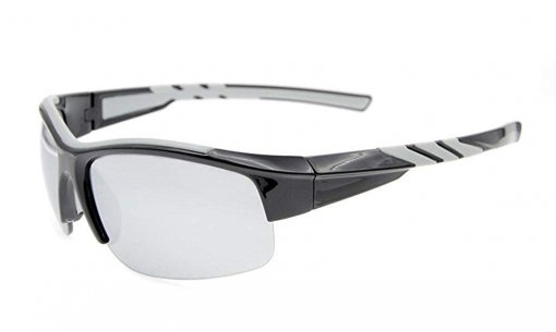 Sunglasses Polarized Half Rimless Polycarbonate TR90 Unbreakable Sport Black/Silver Mirror TH6226