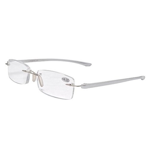 Reading Glasses Small Lenses Rimless Readers Silver R14001