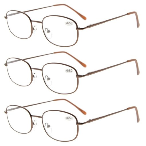 3 Pairs Metal Frame Spring Hinged Arms Reading Glasses Brown R3232-3pcs