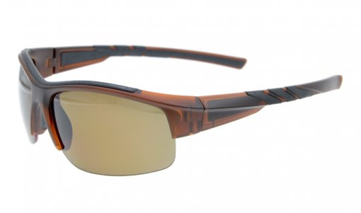 Sunglasses Polarized Half Rimless Polycarbonate TR90 Unbreakable Sport Brown/Brown Lens TH6226
