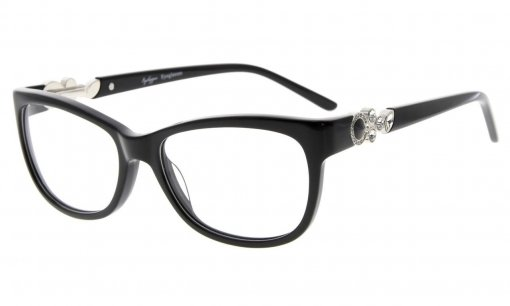 Eyeglasses Cat-eye Style Frame Quality Spring Hinges Retro Black Temples for Women Black FA0063