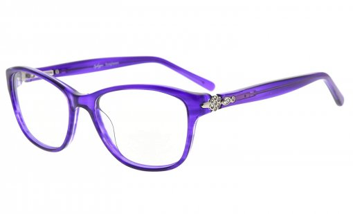 Eyeglasses Stylish Rx-able Acetate Frame with Quality Spring Hinge for Women Purple FA0061