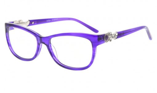 Eyeglasses Cat-eye Style Frame Quality Spring Hinges Retro Black Temples for Women Purple FA0063